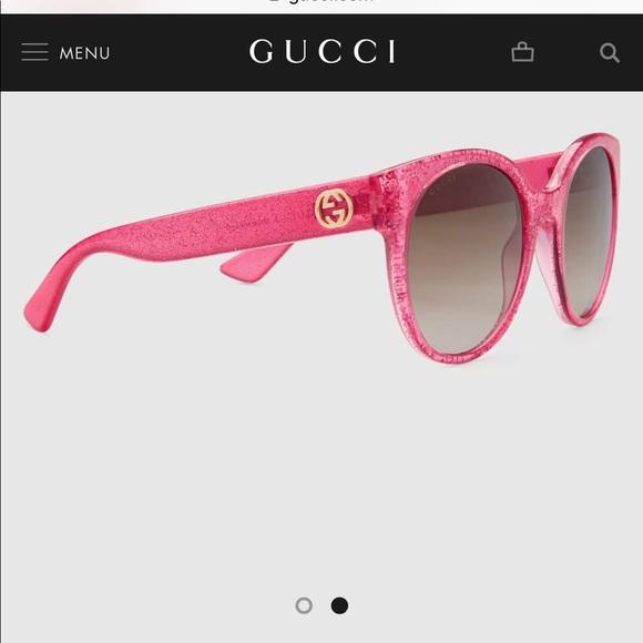 b83e343fd03 Gucci Accessories - Gucci Round-Frame Fuchsia Glitter Sunglasses
